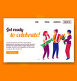 ready to celebrate website vector image vector image