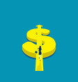 running for money currency and dollar sign concept vector image vector image