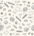 seamless pattern with various types raw pasta vector image vector image