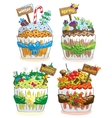 seasons cupcakes on a white background vector image