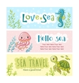 set banners on marine theme vector image vector image