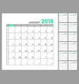 set identical planners 2018 january separately vector image vector image
