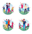 set of dancing people avatar vector image