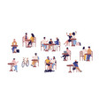 set people sitting at table in street cafe vector image vector image