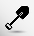 Silhouette shovel to work in the garden button vector image vector image