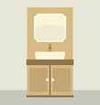 Single Lavatory With Mirror And Cabinet vector image vector image