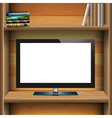 TV widescreen lcd monitor on wooden shelf with vector image