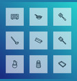 utensil icons line style set with baking sheet vector image