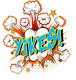 word yikes on comic cloud explosion background vector image vector image