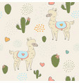 hand drawn seamless pattern with young alpacas vector image