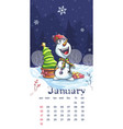 2021 calendar january funny cartoon snowman vector image