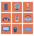 assembly flat icon joystick webcam mobile phone vector image vector image