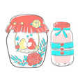 birds in love in jar decorated with flowers vector image vector image