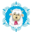 Card with blue snowflake and little cute sheep vector image vector image