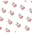 cartoon funny cat pattern ornament flat the vector image vector image