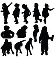 children silhouette cute playing in black color vector image vector image