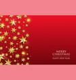 christmas card gold star design on red background vector image