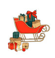 christmas sleigh with gifts december vector image