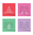 Collection of 4 Normal Distribution Curve or Bell vector image