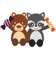 cute bear and raccoon sweet candies vector image
