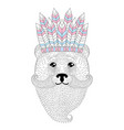 cute bear with mustache beard war bonnet vector image