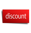 discount red square isolated paper sign on white vector image vector image