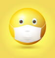 emoji emoticon with medical mask over mouth and vector image vector image