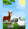 farm animals cartoon in the jungle vector image vector image