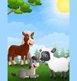 farm animals cartoon in the jungle vector image
