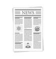 folded newspaper news with articles and graph vector image vector image