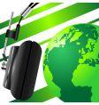 globe and headphones vector image vector image