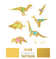 golden set with cartoon origami dinosaurs