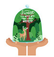 hands holding tree forest with wild deer care vector image