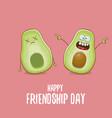 happy friendship day cartoon comic greeting card vector image