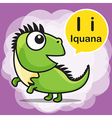 I Iguana color cartoon and alphabet for children vector image vector image