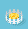 isometric paper people surrounded golden dollar vector image vector image