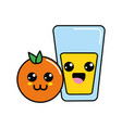 kawaii happy orange and juice glass vector image vector image