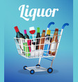 liquors bottle and can on a shopping cart vector image