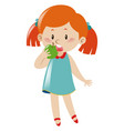 little girl eating green apple vector image