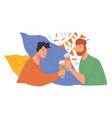 male friends celebrating birthday or holidays vector image