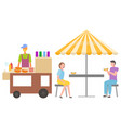man and woman eating hot dogs street food vector image