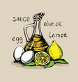 mayonnaise sauce from vegetable oil egg yolks and vector image vector image