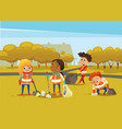 multiracial children wearing orange vests collect vector image
