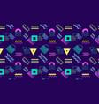 neon geometric seamless pattern on dark background vector image
