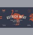 ostrich template label vintage retro print vector image vector image