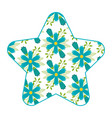 pattern shape star with flowers spring decoration vector image vector image