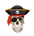 pirate skull with black hat vector image