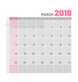 practical light-colored planner 2018 march flat vector image vector image