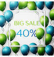 Realistic green and blue balloons with black vector image vector image