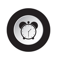 round black and white button - alarm clock icon vector image vector image